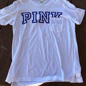 PINK Pocket T shirt White & Royal Blue Size M